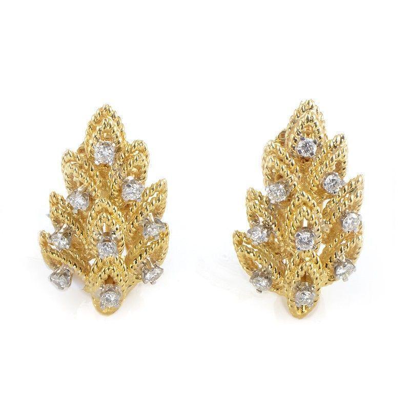 Tiffany & Co. 18K Yellow Gold & Diamond Leaf Earrings