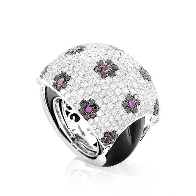 18K White Gold Floral Gemstone Pave Dome Ring KO25911RBZRUOX