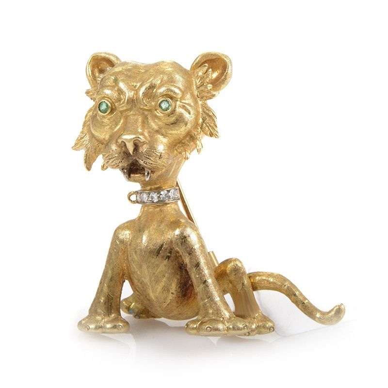 Buccellati 18K Yellow Gold Wild Cat Precious Gemstone Brooch
