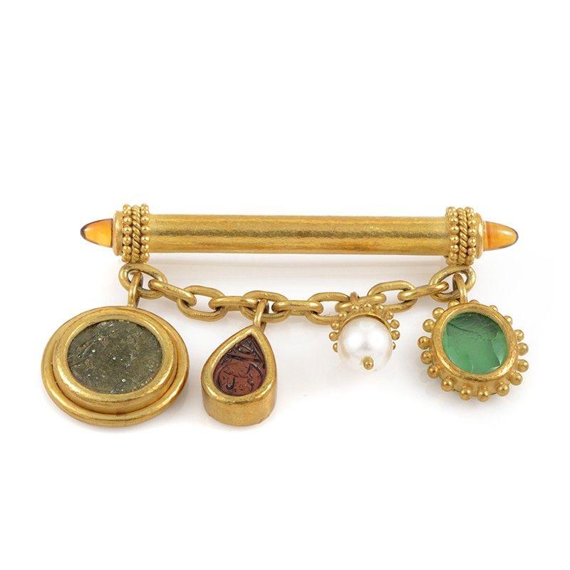 Elizabeth Locke 18K Yellow Gold Gemstone Brooch
