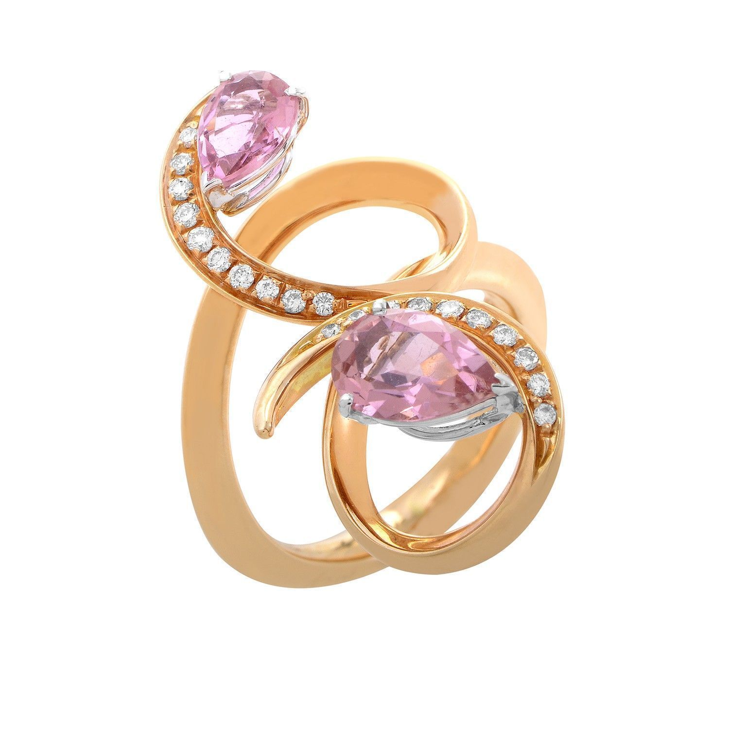 18K Rose Gold Pink Sapphire and Diamond Ring