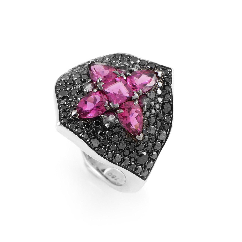 Belle Epoque 18K White Gold Black Diamond & Rubellite Ring