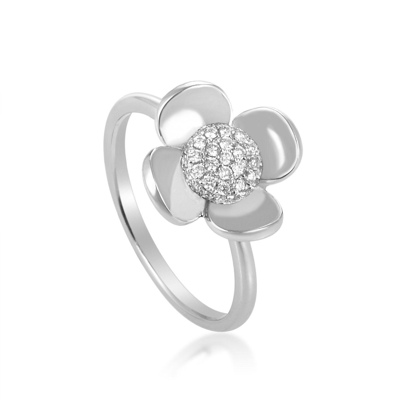 18K White Gold Flower Diamond Ring KO48261RMBZ
