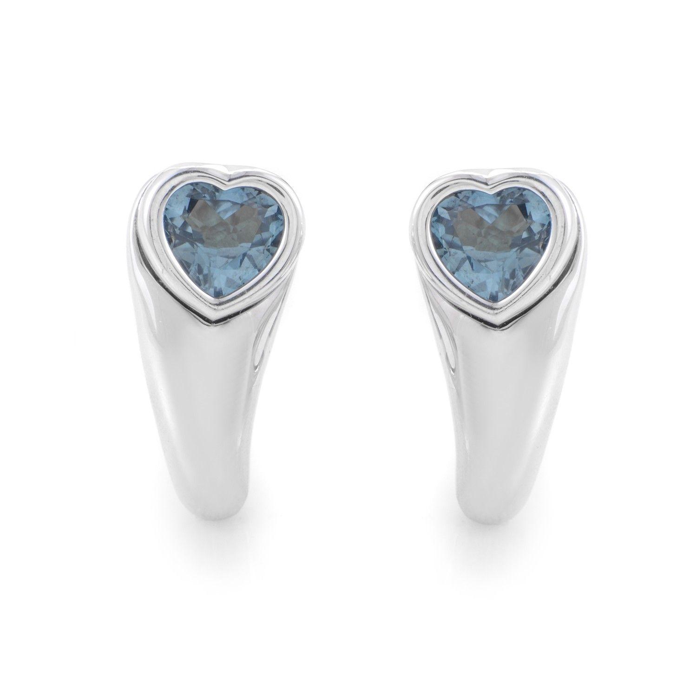Womens 18K White Gold Topaz Heart Earrings