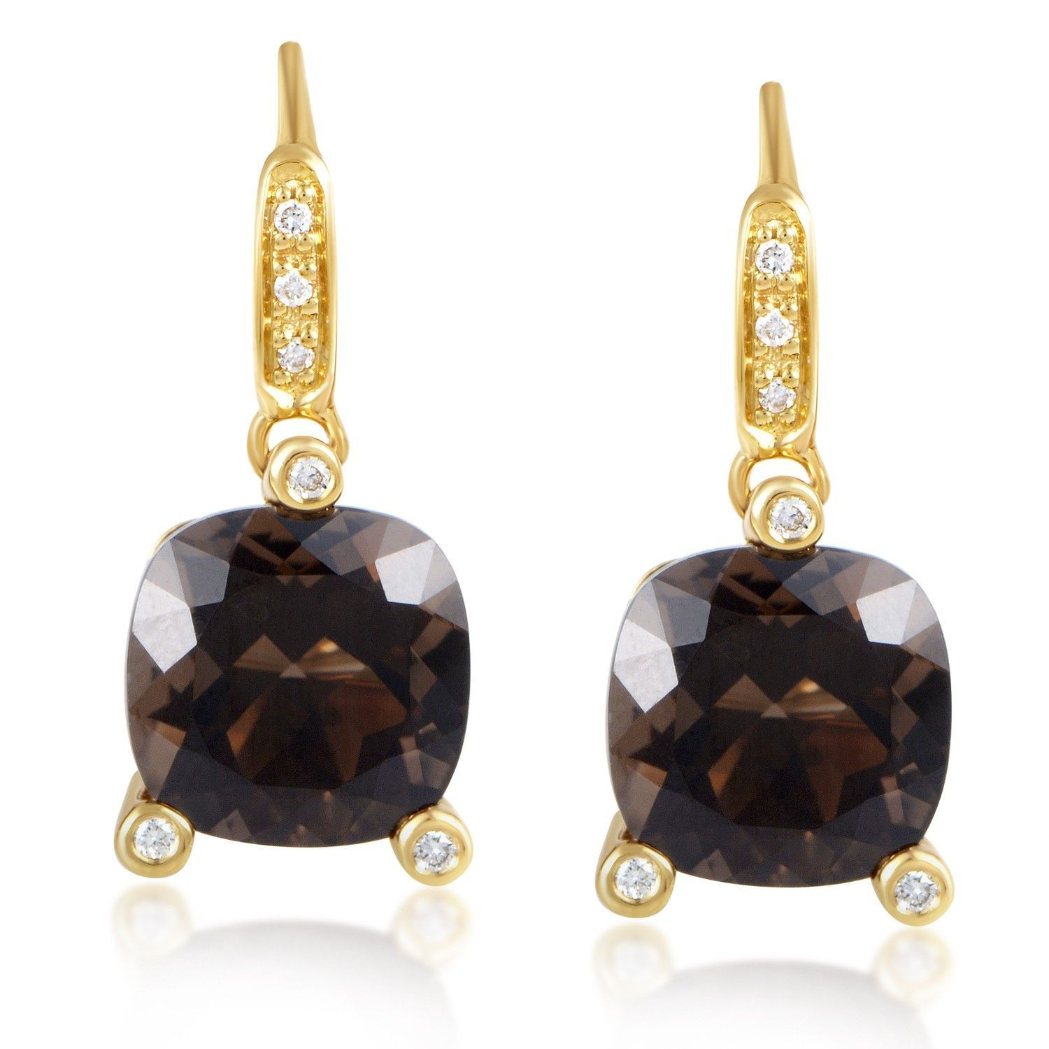 Poiray 18k Yellow Gold Smoky Quartz & Diamond Drop Earrings TwDHpVX