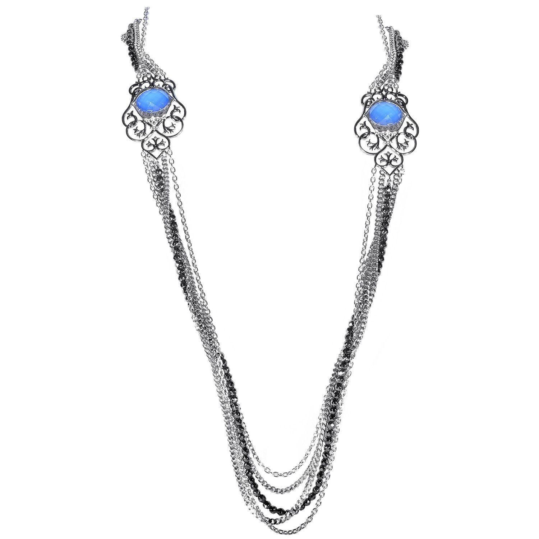 Les Dents de la Mer Sterling Silver Multi-Gemstone Necklace