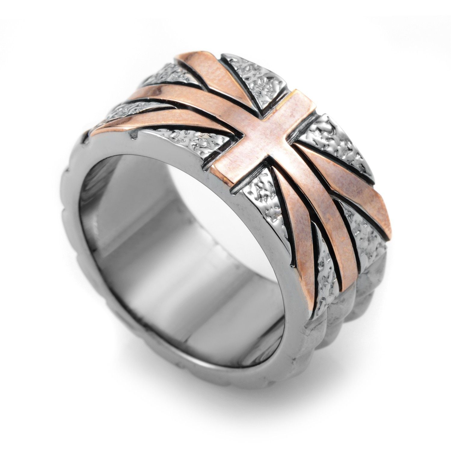 Alchemy in the UK Sterling Silver Studded Union Jack Ring