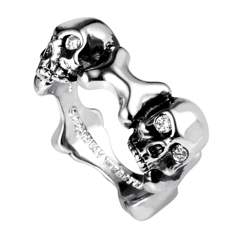 Skull and Bones Sterling Silver Diamond Ring 3005570