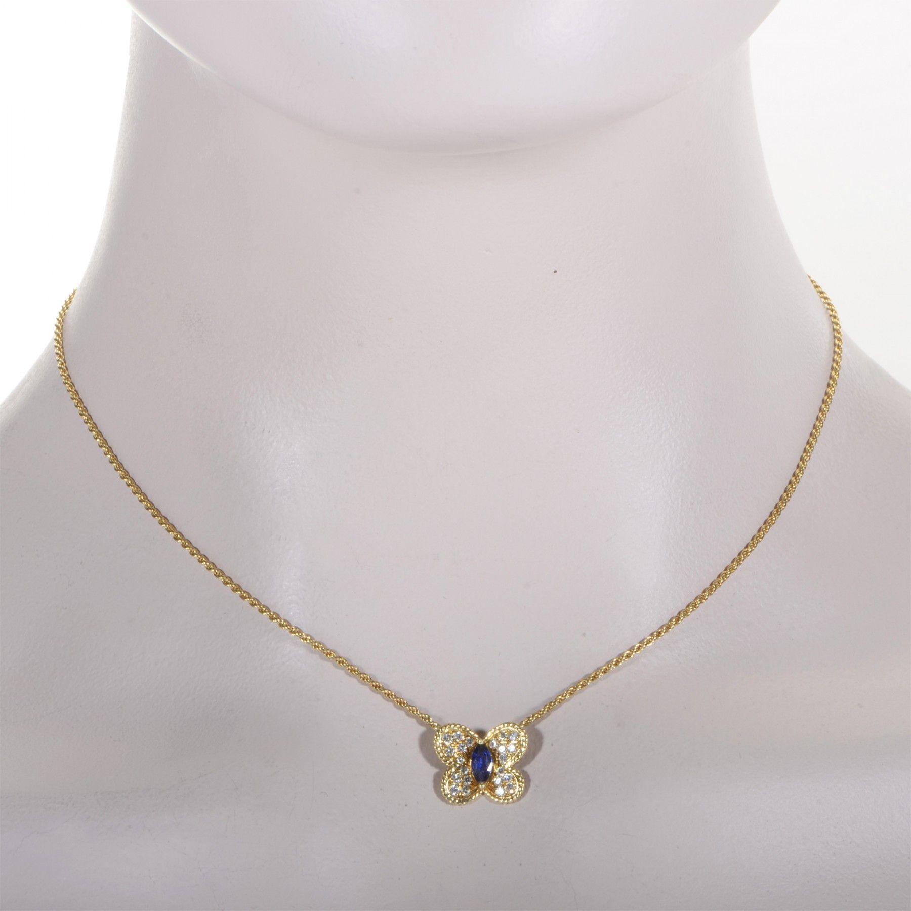 Graff Women S 18k Yellow Gold Diamond Amp Sapphire Butterfly