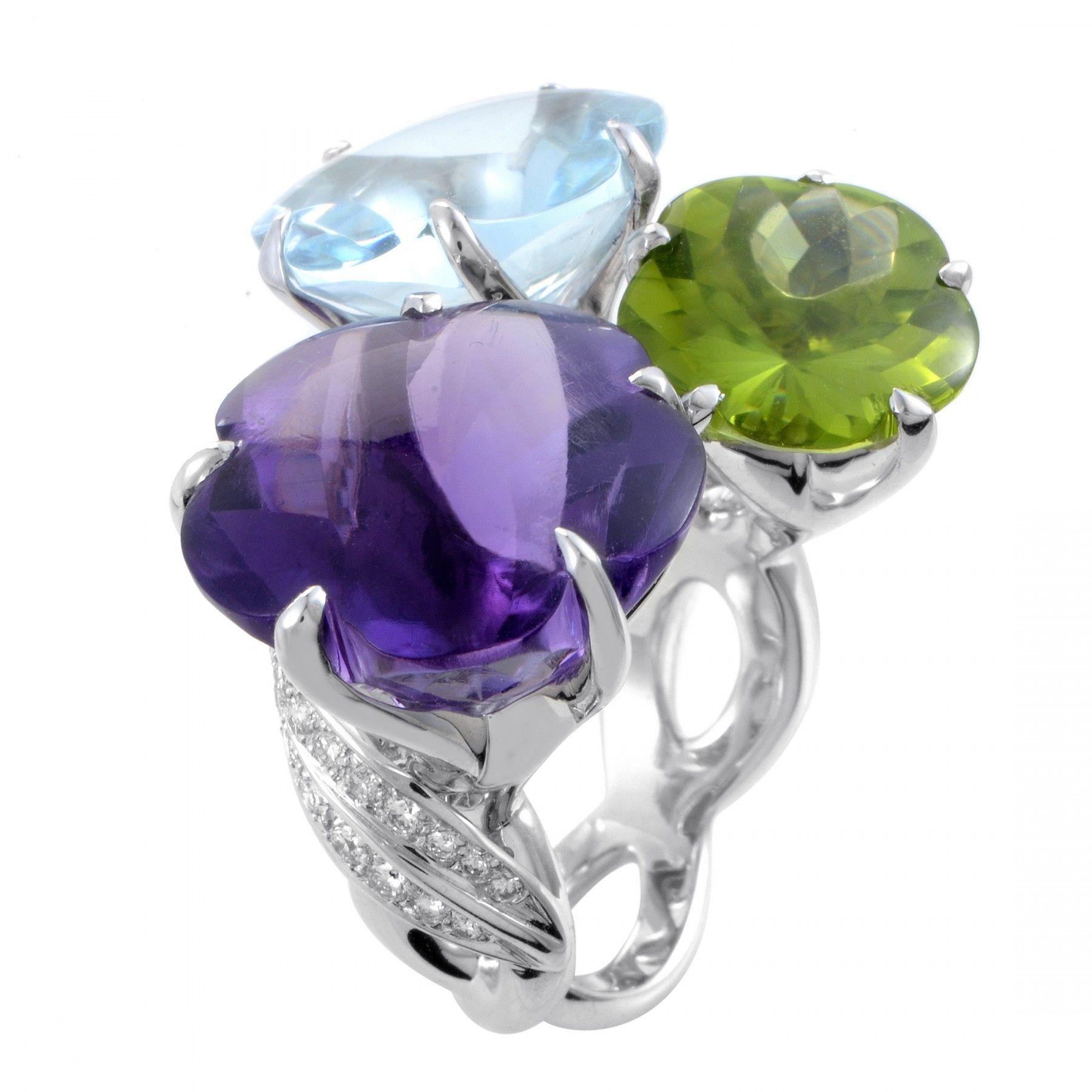 Chanel Camelia Women's 18K White Gold Diamond & Triple Gemstone Flower Cocktail Ring