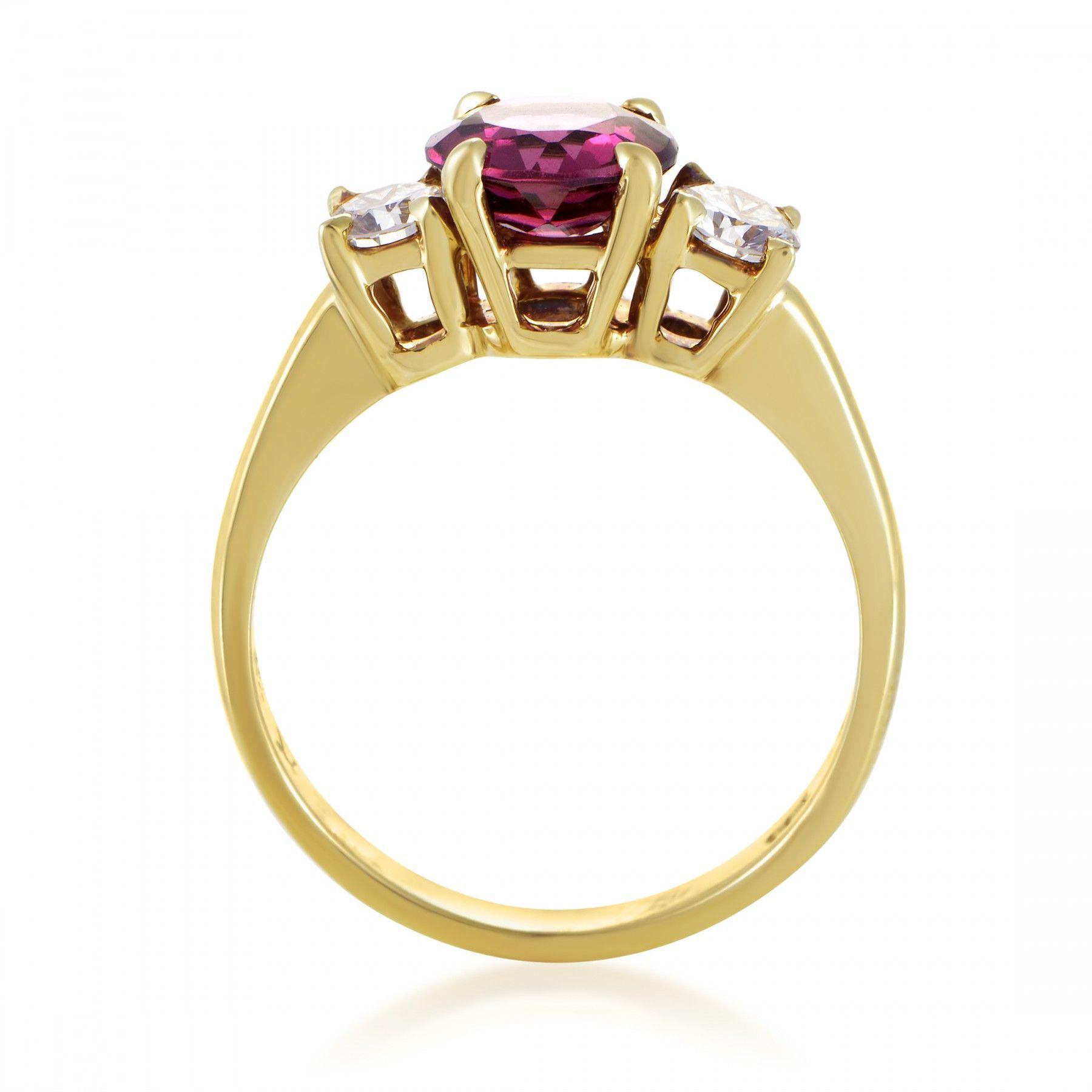 Tiffany Amp Co 18k Yellow Gold Diamond And Pink Tourmaline