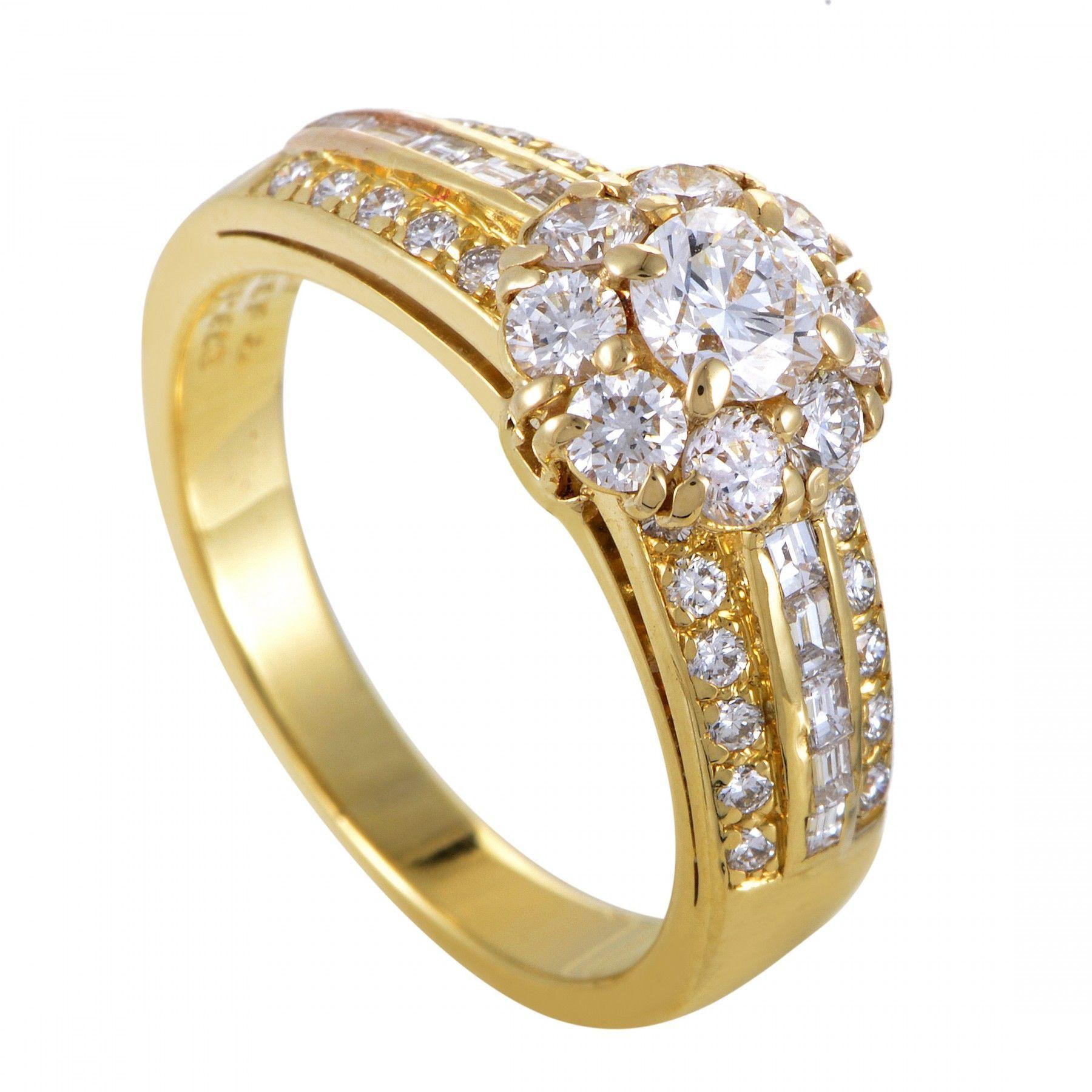 Van cleef arpels womens 18k yellow gold diamond flower ring mightylinksfo