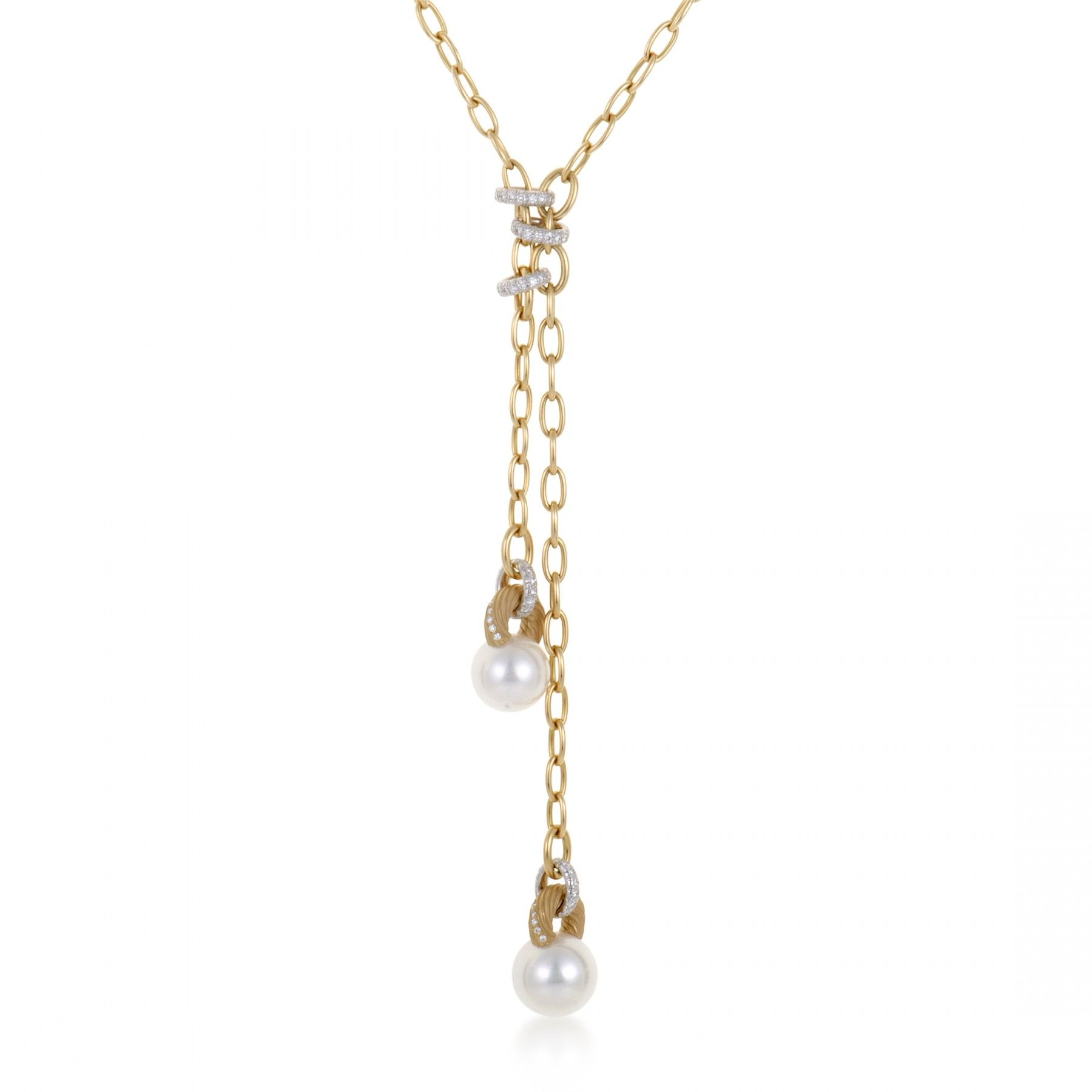 18k yellow and white gold and pearl dangling