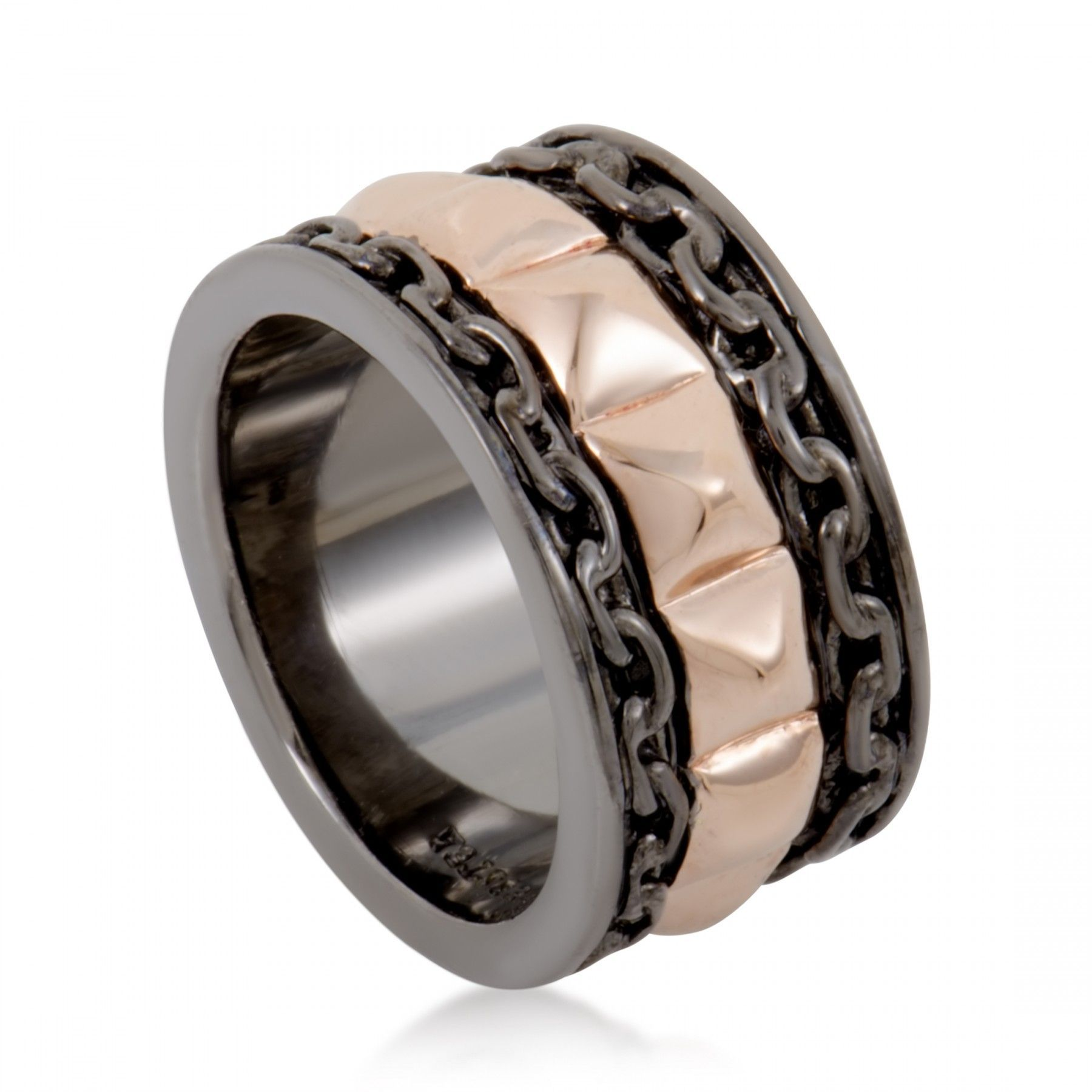 Alchemy in the UK Mens Rose Gold Plated Silver Band Ring
