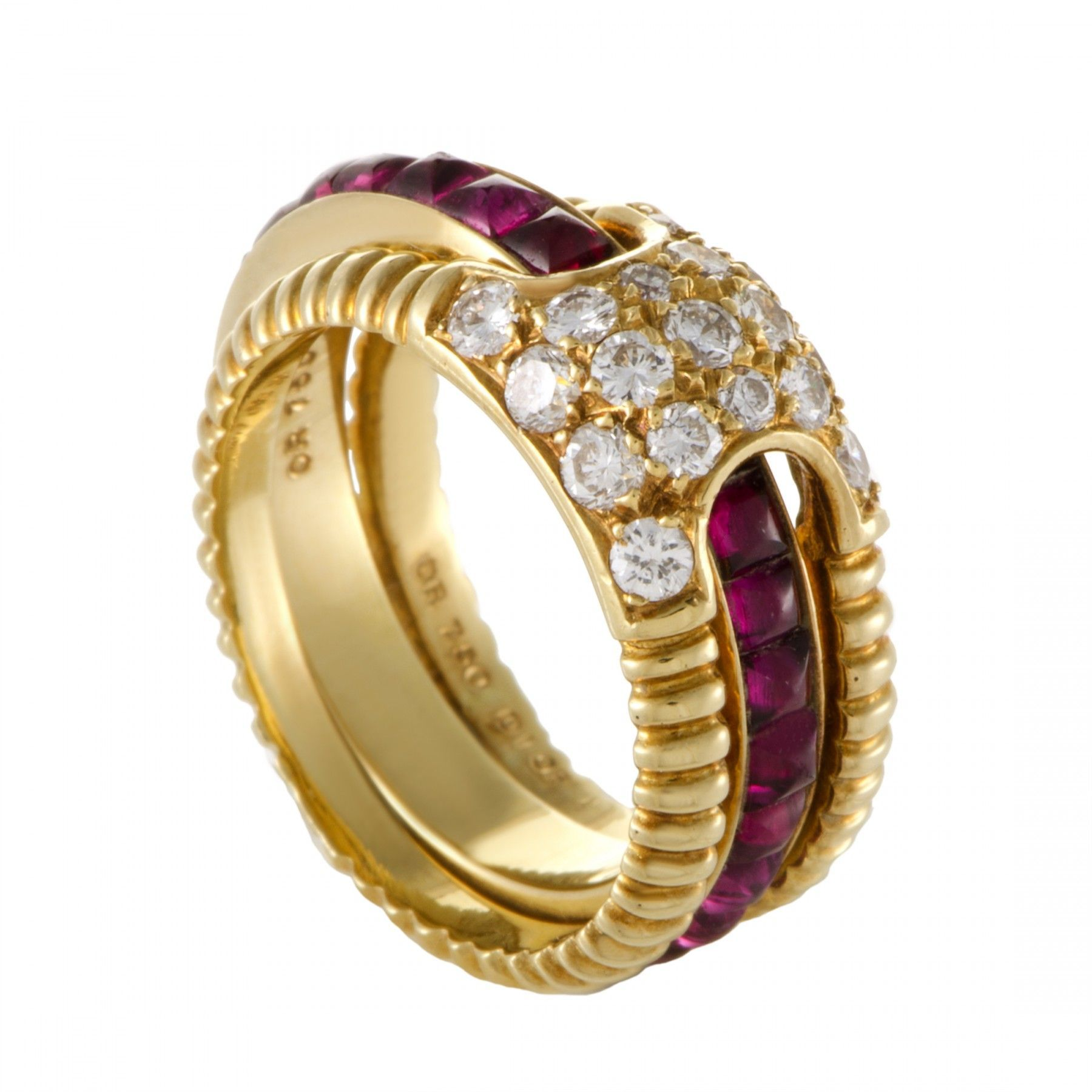 Dior Womens 18K Yellow Gold Diamond and Ruby Insert Band Ring Set