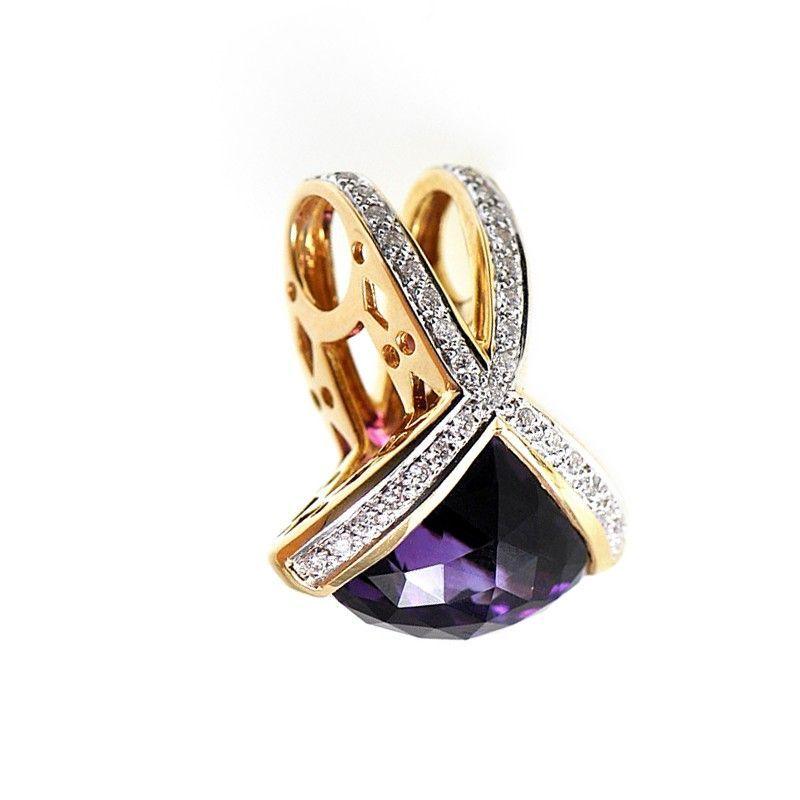 Brilliant 18K Yellow Gold Diamonds Amethyst Domed Pendant