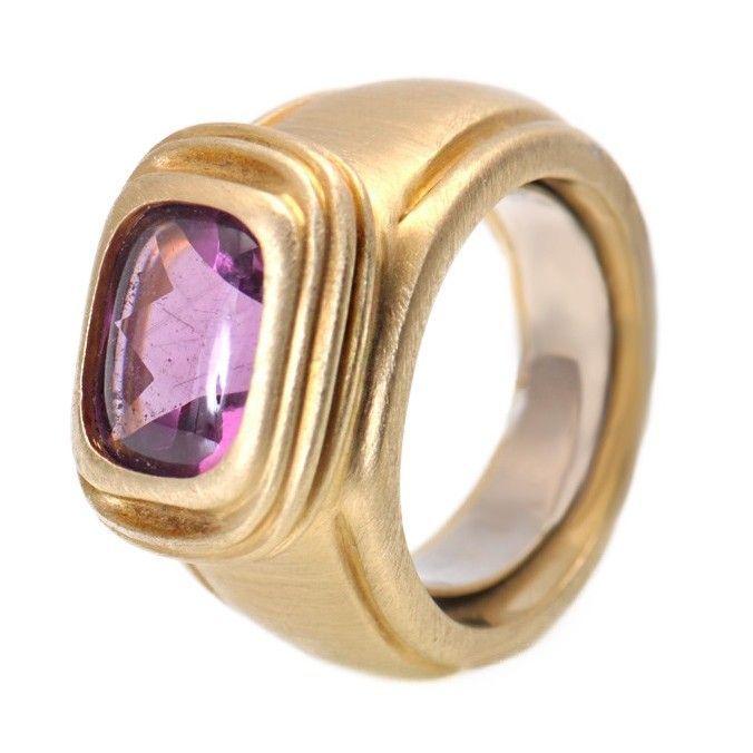 18K Yellow Gold Amethyst Ring