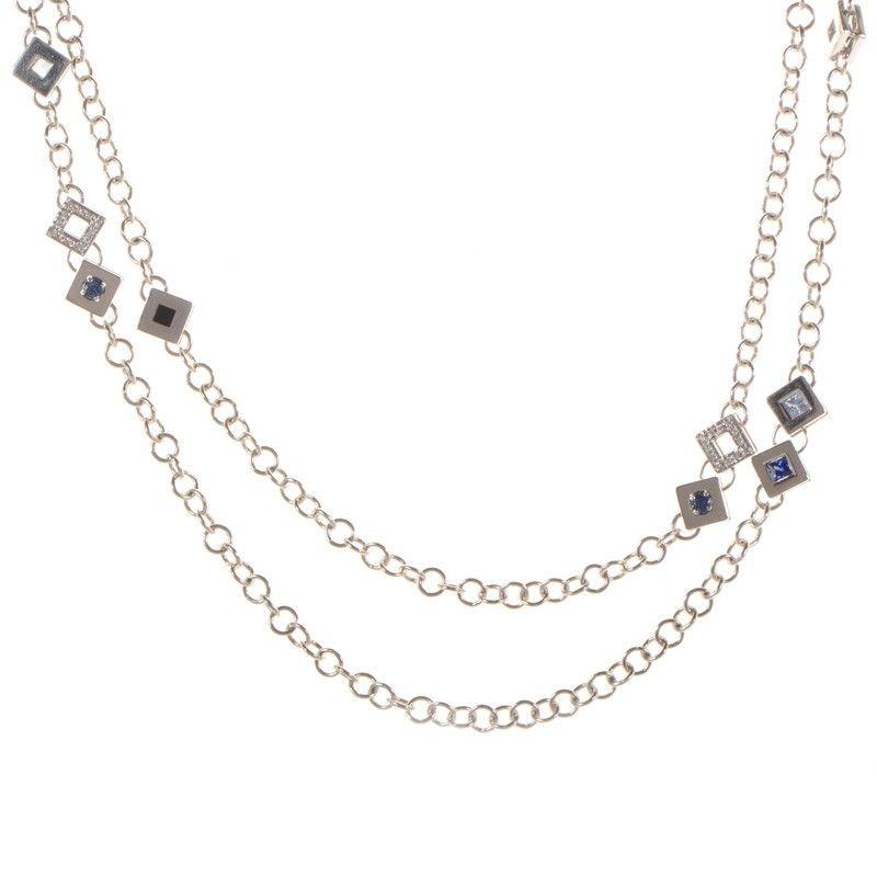 18K White Gold and Diamonds Multi Stone Necklace
