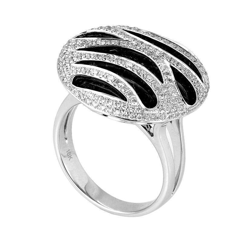 18K White Gold Onyx Diamond Ring CRR7678