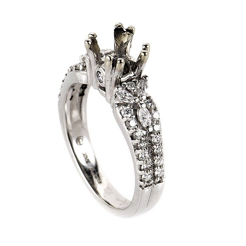 18K White Gold Magnificent Diamond Mounting Ring