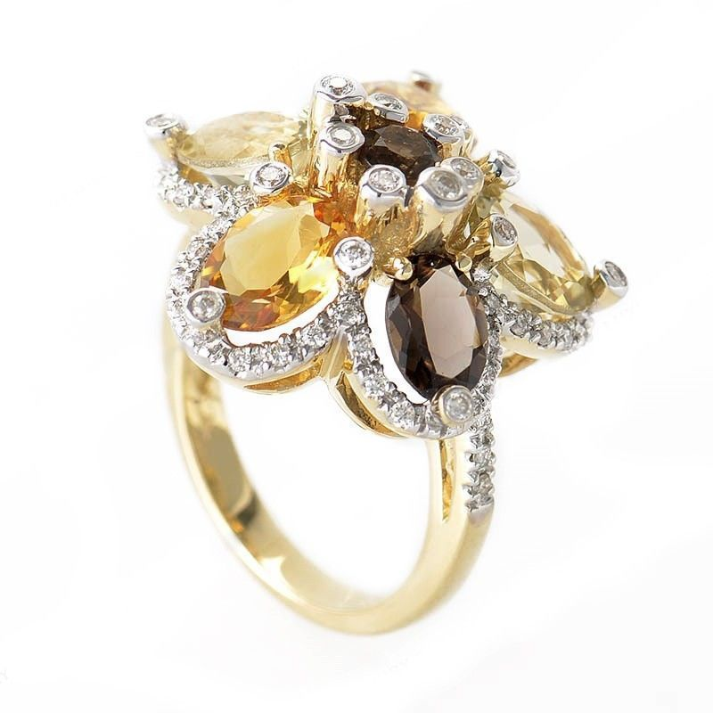 14K Yellow Gold Smoky Topaz and Citrine Flower Ring