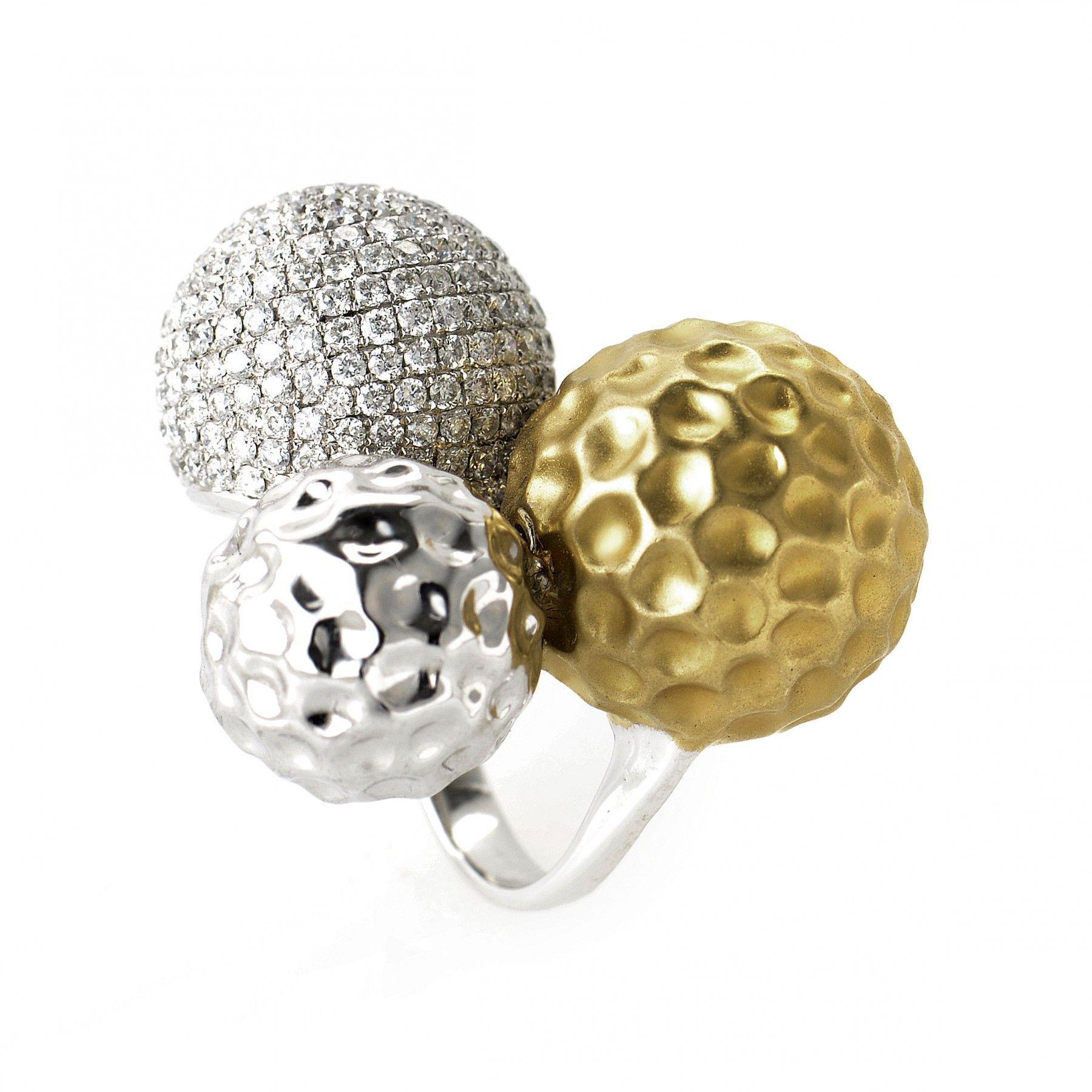18K Multi Gold and Diamond Sphere Ring