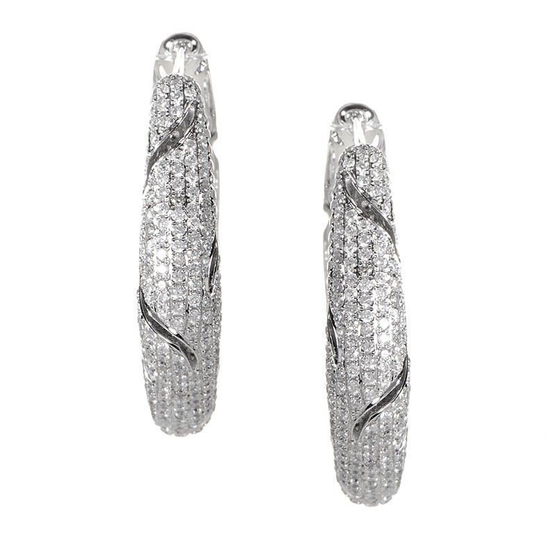 Unique 18K White Gold Diamond Micro Pave Hoop Earrings