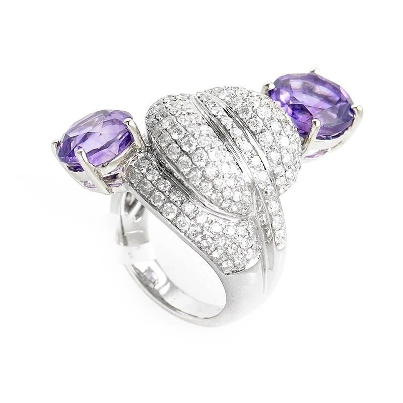 unique 18k white gold diamond u0026 amethyst ring