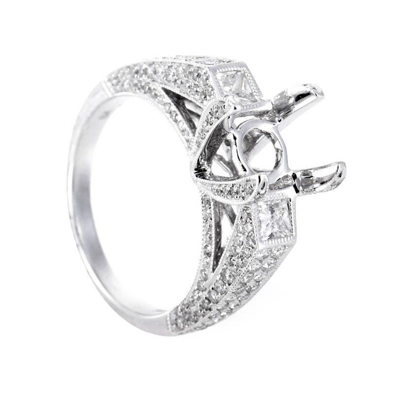 18K White Gold Diamond Bridal Mounting Ring CRR7910