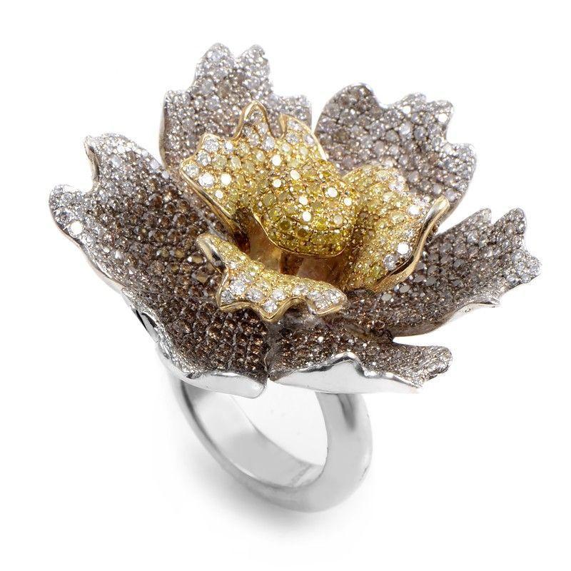 18K White Gold Multi-Gold Brown & Yellow Diamond Flower Ring CRR7932