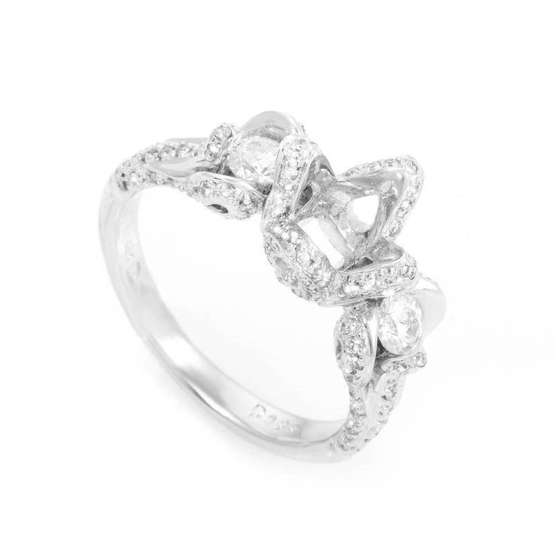 18K White Gold Diamond Engagement Ring Mounting CRR1295