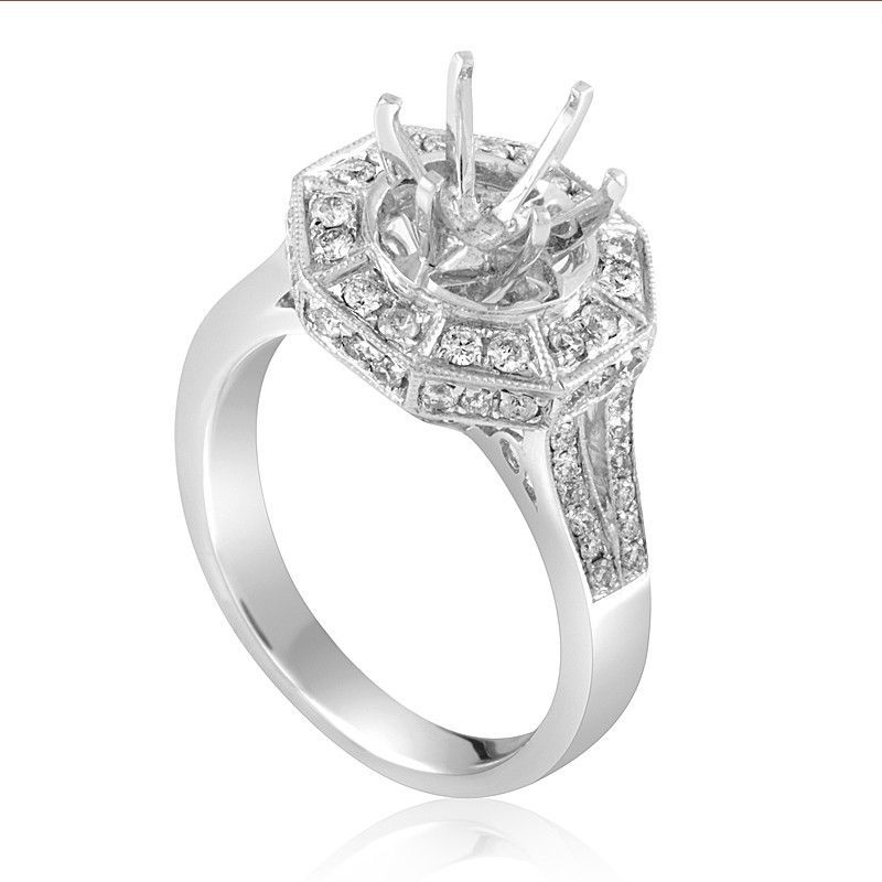 18K White Gold Diamond Engagement Ring Mounting CRR5443