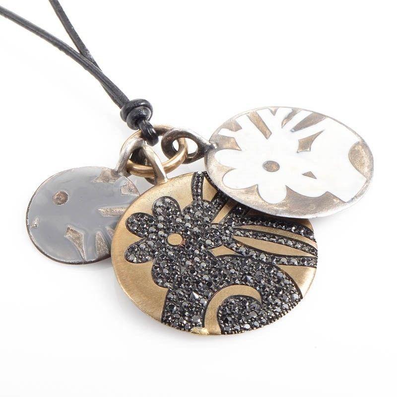 Preziosismi 18K Yellow Gold and Silver Diamond Pendants Necklace