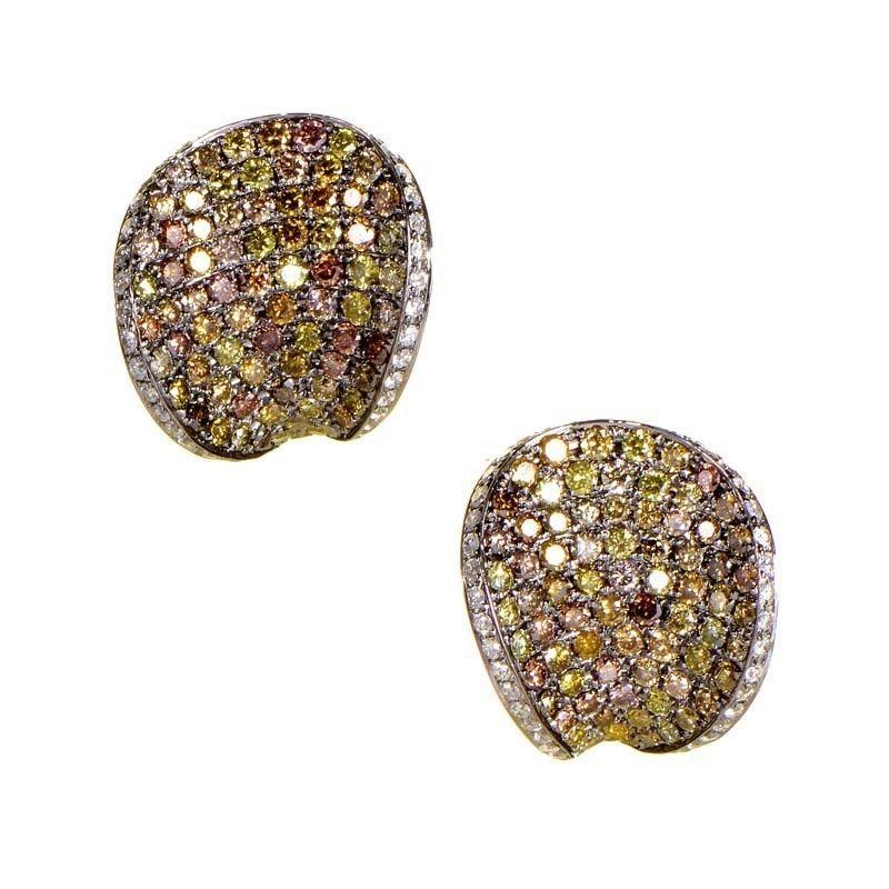 18K White Gold Multi Diamond Earrings