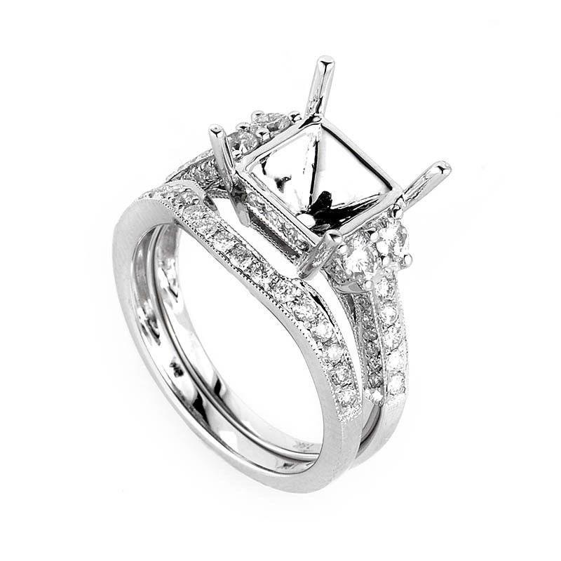 Elegant 18K White Gold Diamond Mounting Bridal Set