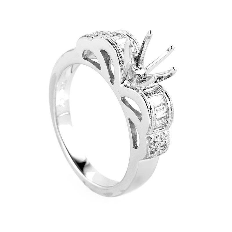 Spectacular 18K White Gold Diamond Engagement Ring Mounting