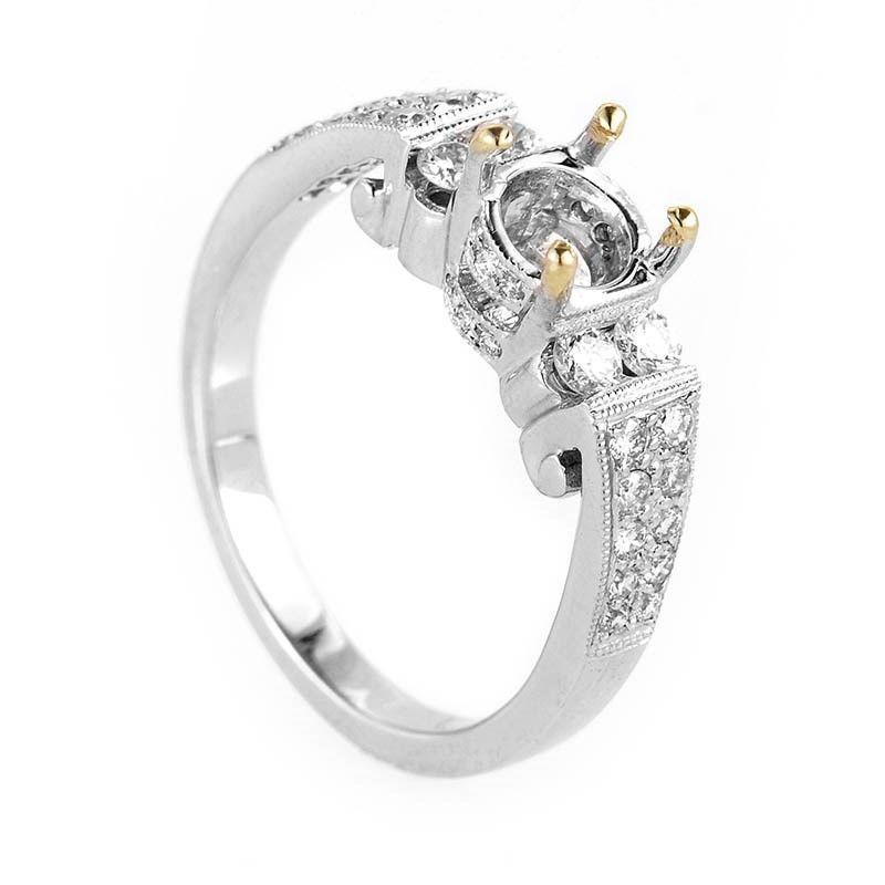 Feminine 18K White Gold Diamond Engagement Ring Mounting
