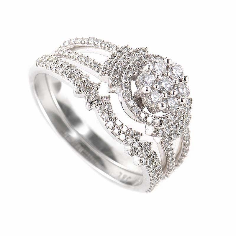 Glamorous 14K White Gold Diamond Bridal Set