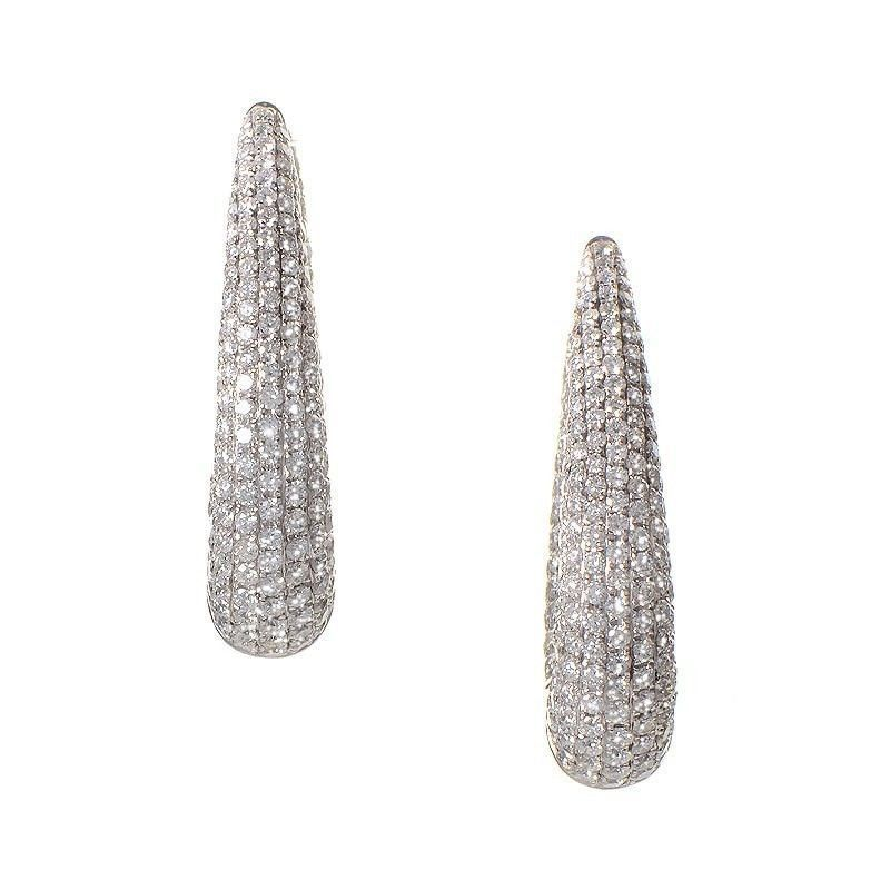 Thick 18K White Gold Micro Pave Hoop Earrings