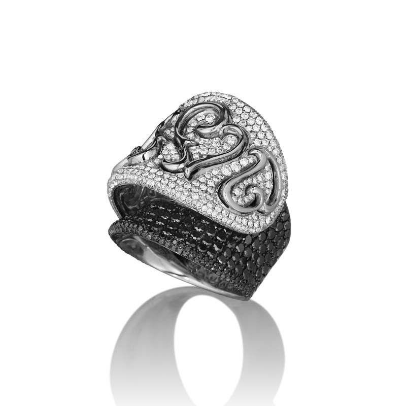 18K White Gold Multi Diamond Curved Heart Ring