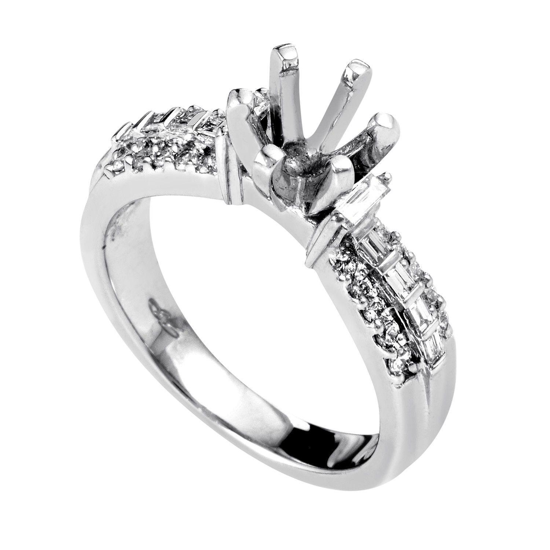 Women's Platinum & Diamond Engagement Ring Mounting MFC04-040913