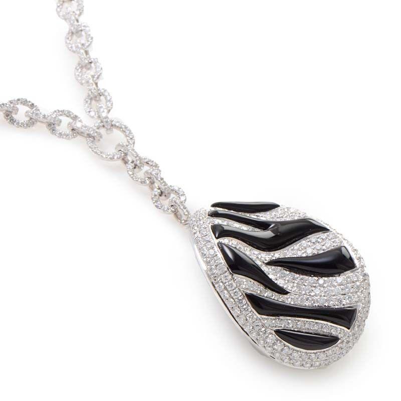 18K White Gold Zebra Stripped Diamond Pave Oval Pendant 0514G1