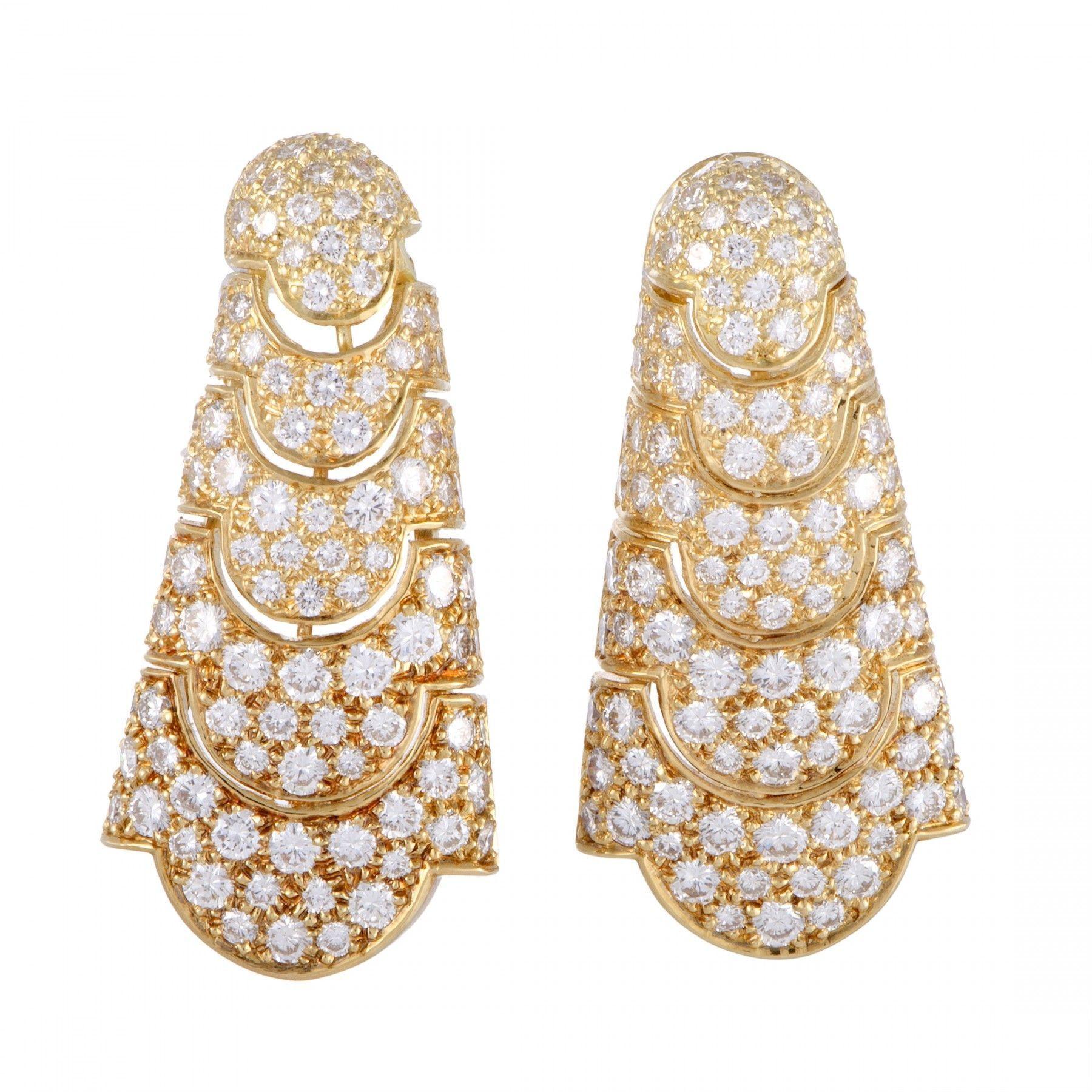 Cartier Vintage 18k Yellow Gold Full Diamond Pave Drop Earrings