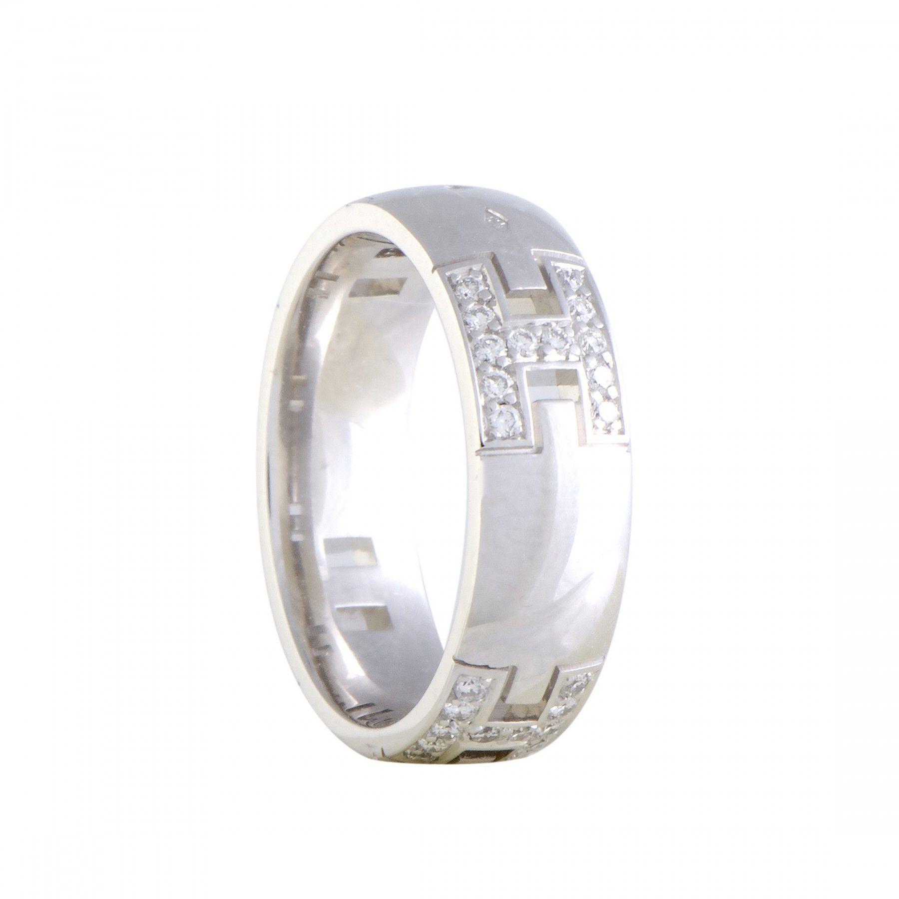 91f68fe8a778 ... greece hermès 18k white gold diamond pave hercules band ring 1b967 15996