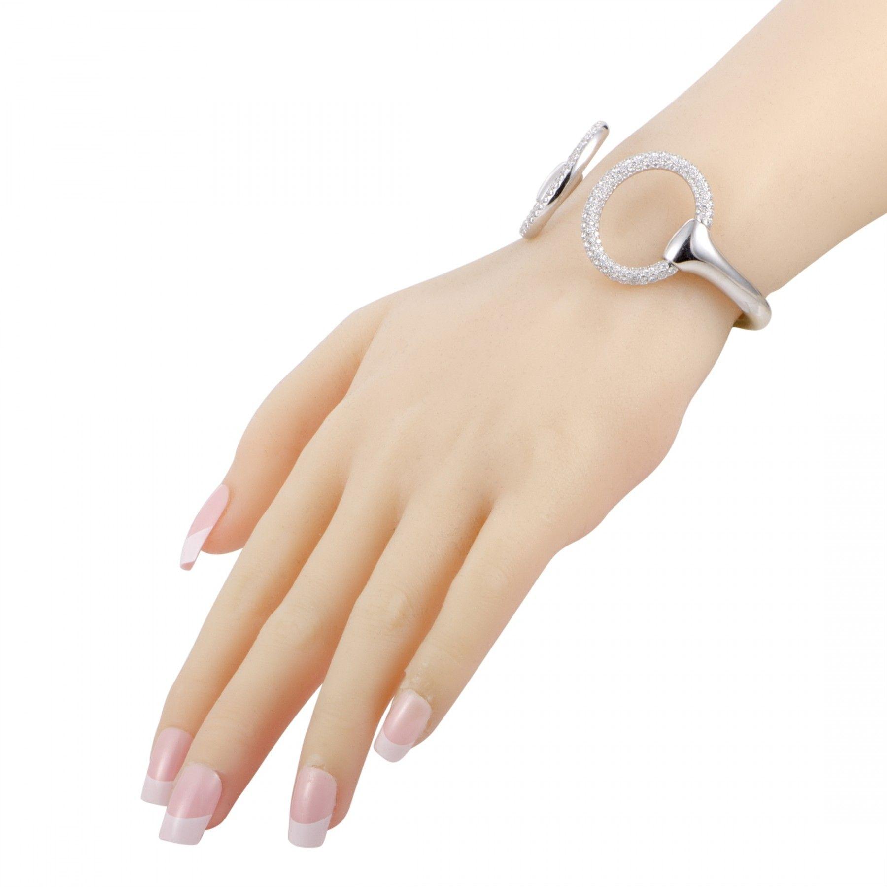 ... real hermès nausicaa 18k white gold diamond pave horsebit open bangle  bracelet small model 0ee2a 2c66f 5dcab1dd36e