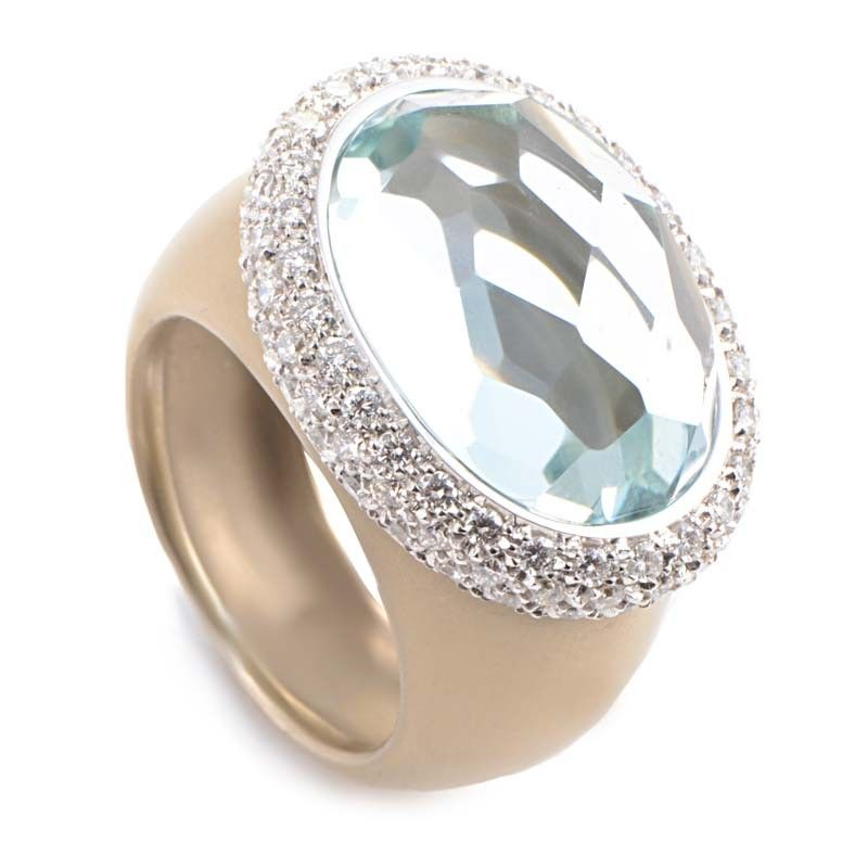 8b3d2801fff87c ... Ring Pomellato Iceberg 18K Brushed Rose Gold Aquamarine & Diamonds ...