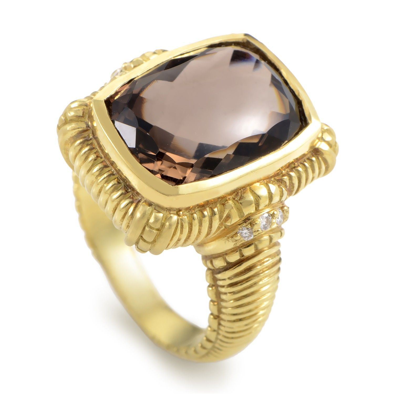0c9a6d6d1d088 Judith Ripka 18K Yellow Gold Diamond & Smokey Topaz Ring