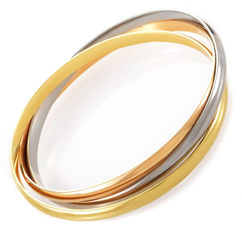 13e8b6cf61a4d Cartier Trinity 18K Tri-Gold Rolling Bangle Bracelet