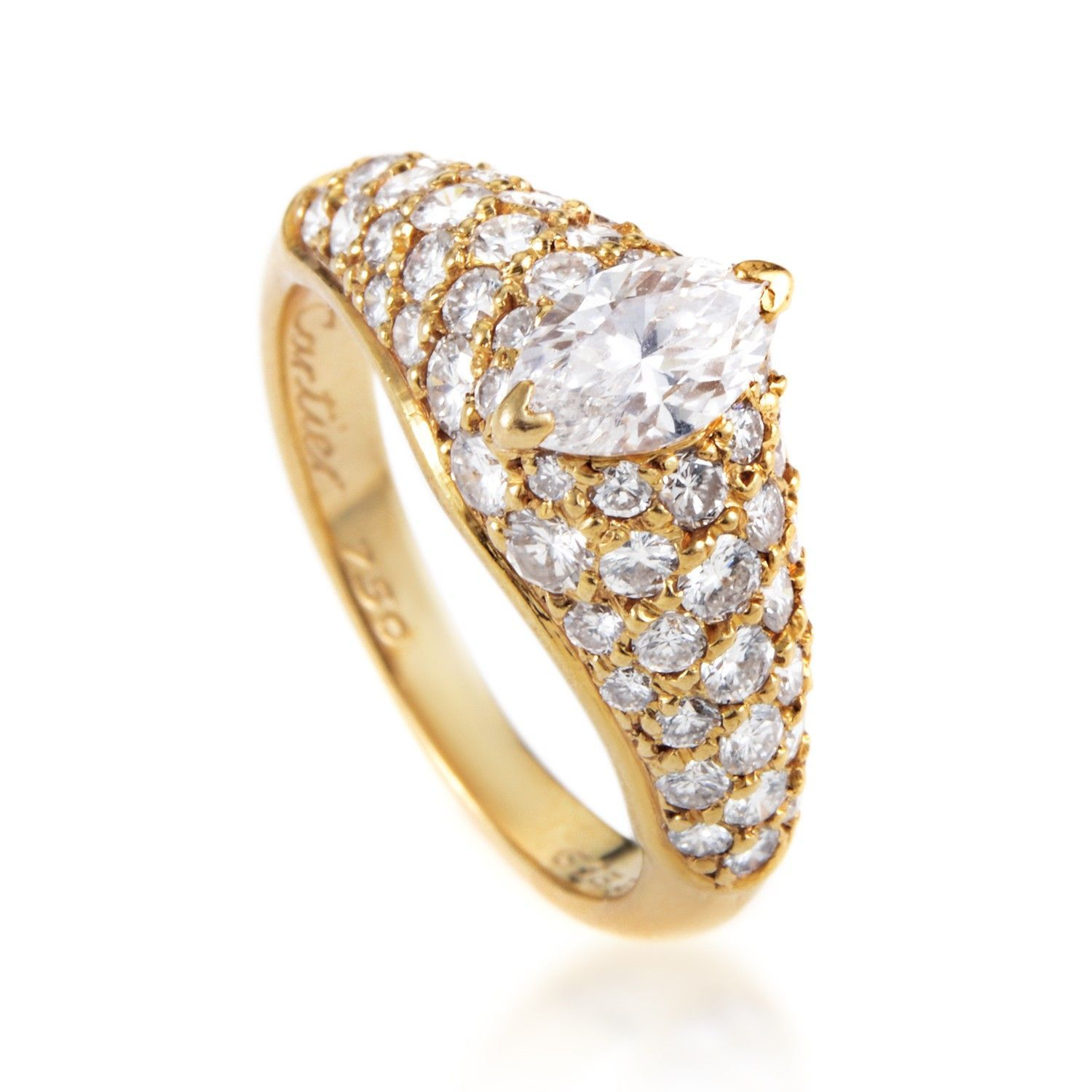 fb646aebd4050 Cartier 18K Yellow Gold ~.60ct Marquise Diamond Engagement Ring
