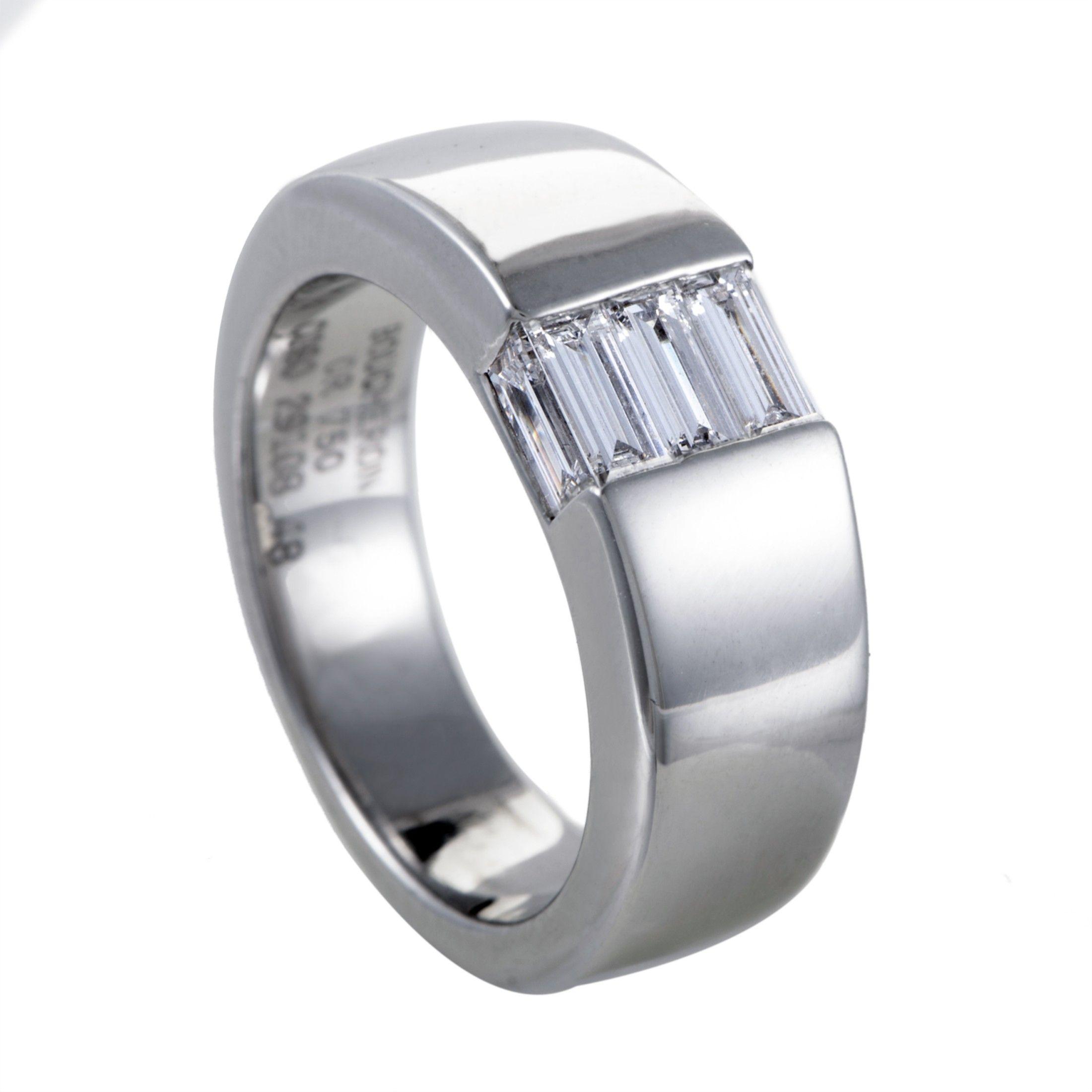 895c0b3699a Shop Boucheron Womens 18K White Gold Diamond Baguette Band Ring for ...